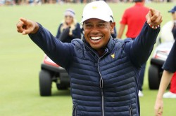 Presidents Cup 2019 Tiger Woods Celebrates