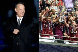 Aston Villa Fan Tom Hanks Celebrates Win Four Weeks Before Match