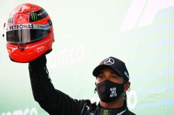 F1 2020 Lewis Hamilton Presented Michael Schumacher Helmet Record Equalling Win