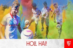 Sevilla Players Splash Themselves With Colours To Celebrate Holi