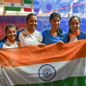Joshna Chinappa, Dipika Pallikal, Sunayna Kuruvilla and Tanvi Khanna